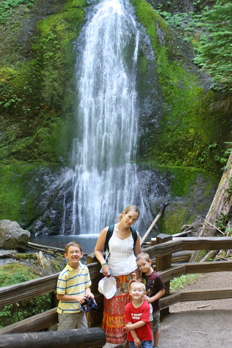 marymere falls waterfall family