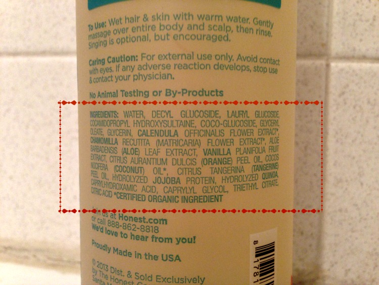 ingredient list the honest company
