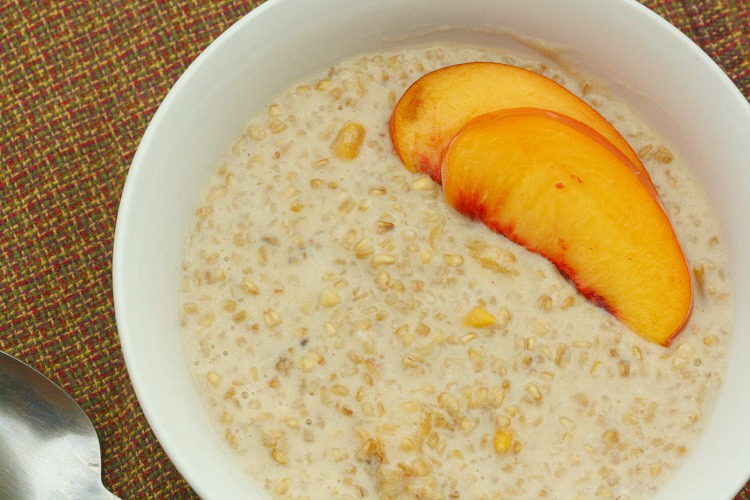 Fresh Peach Slices with Steel Cut Oats