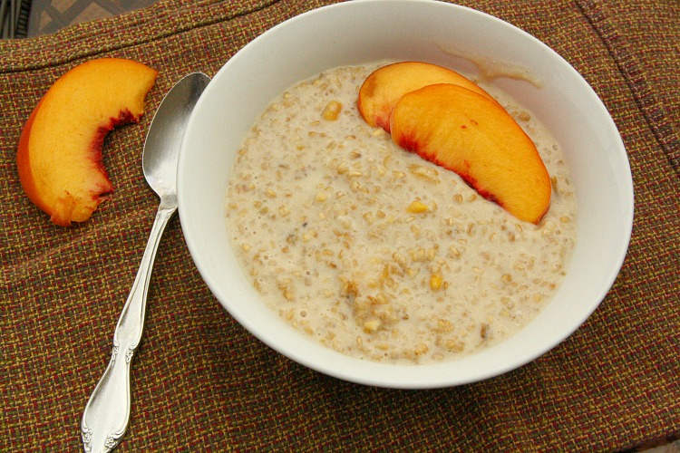 Fresh Peaches with Steel Cut Oats