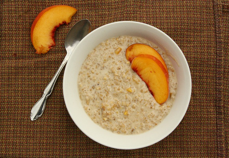 Steel Cut Oats with Peaches and Brown Sugar