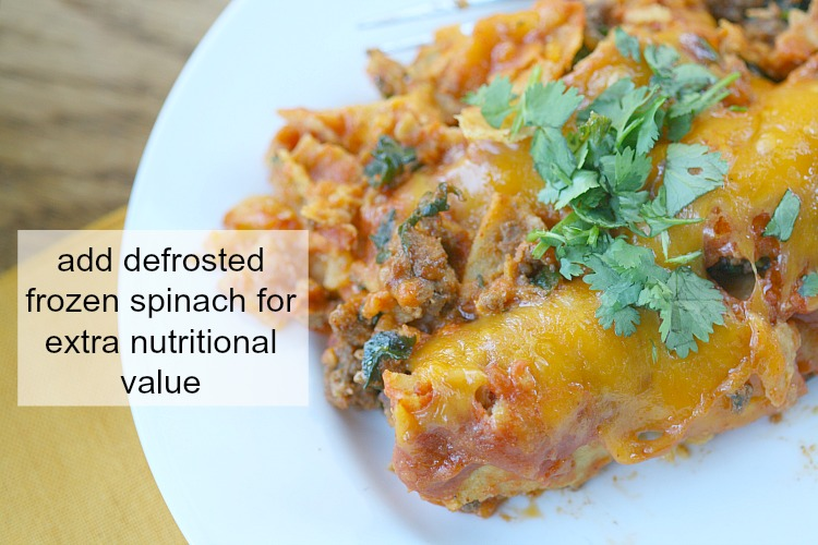 add-frozen-spinach-to-beef-enchiladas-for-extra-nutrition